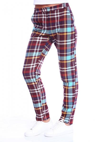 Pantalon dama office cu imprimeu multicolor